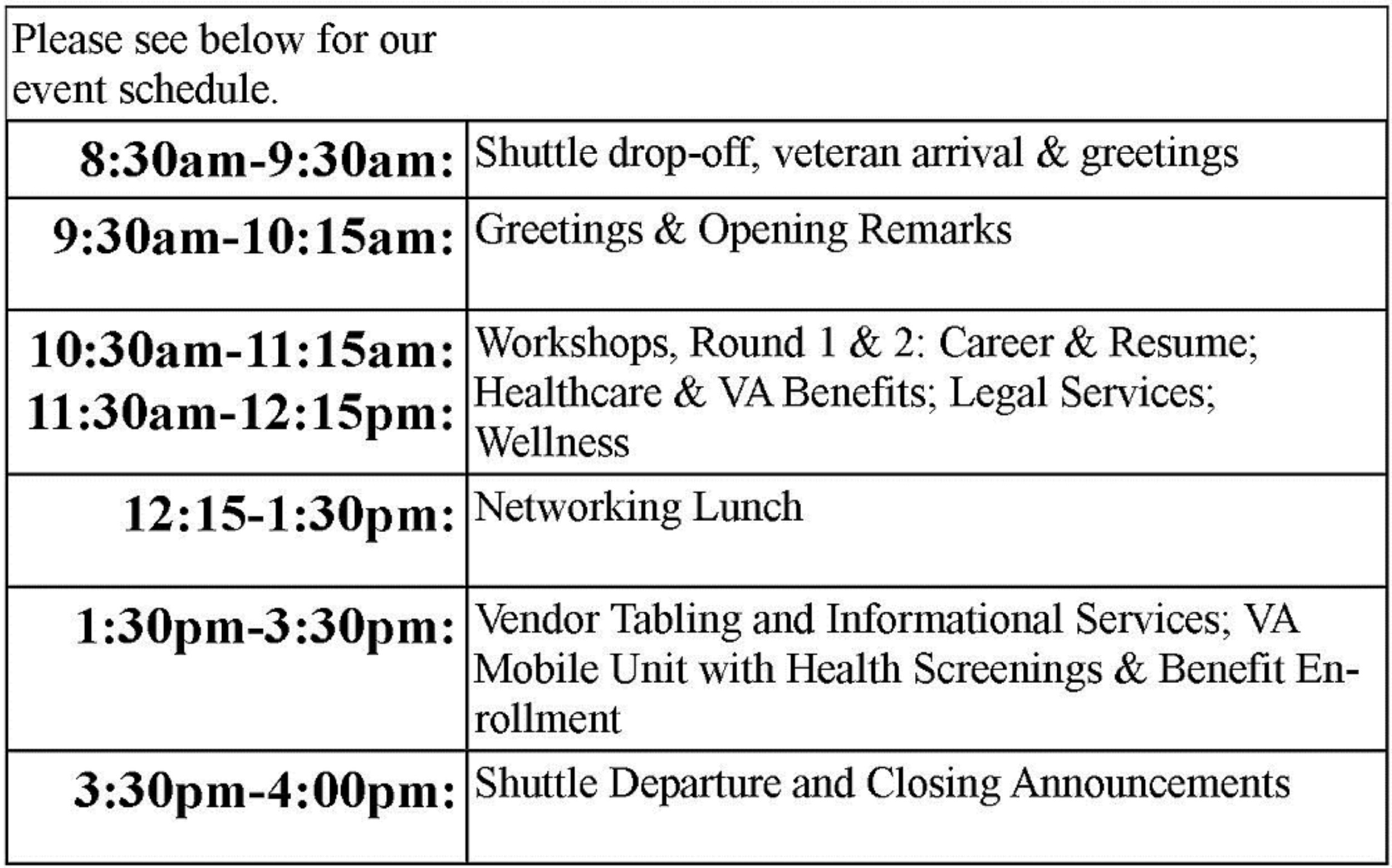 Event Agenda Stand Up For Woman Veterans – Event Agenda